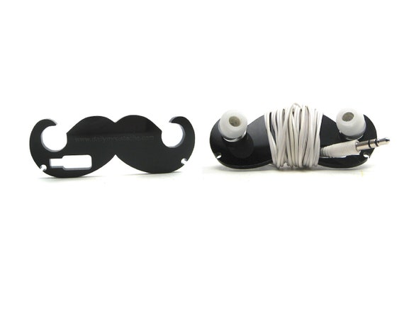 Dandy - Moustache Headphone Wrap for Earbuds (BLACK)