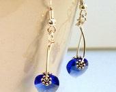 Swarovski Crystals Blue Sapphire Heart  Earrings