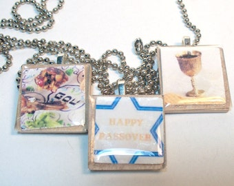 Passover Jewelry -  Scrabble Tile Necklaces
