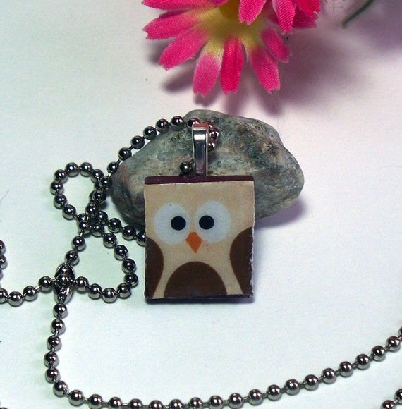 Sale Owl Beige and Brown Maroon Scrabble Tile Pendant