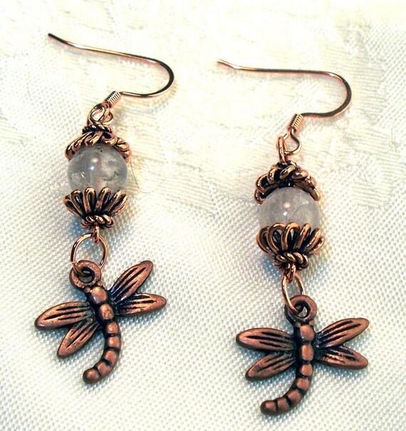 Copper Dragonfly Charm Earrings