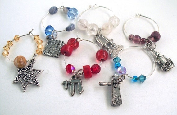 Jewish Wine Charms - Set of 10 - for Jacqueline