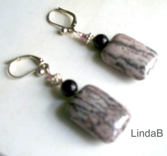 Pink Rhodonite and black onyx gemstone earrings