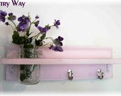 WOOD Wall Shelf  Hooks Faded Shabby Chic Wedding Pink Color  Beach Cottage
