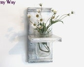 WOOD Wall Shelf  Faded Linen Wedding White  Color Shabby Chic