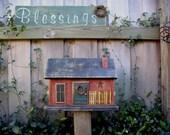 Primitive Farmhouse Country Rustic  Folk Art Birdhouse