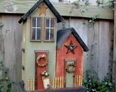 Primitive Folk Art Farmhouse Cottage Country Birdhouse