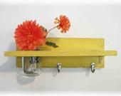Wood  Shelf  Hooks Faded Sunshine Funky  Retro Yellow Color Bathroom Kitchen