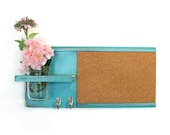 Retro Style Wall Shelf Cork Bulletin Board Message  Center Hooks Country Light Turquoise Color
