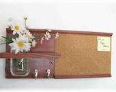 Wood Wall Shelf Cork Bulletin Memo Board Message  Center Hooks Mason Jar Country Barn Red Color
