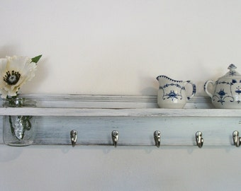 Wood French Country Wall Shelf  Hooks Faded Linen Wedding White Color 35""