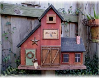 Large Primitive Folk Art Country Barn Birdhouse