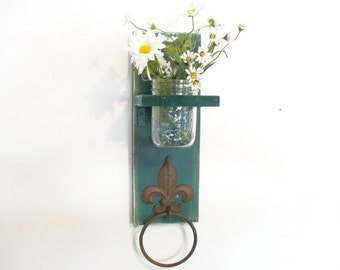 WOOD Kitchen or Bathroom Wall Shelf  with Towel Ring  fleu de lis Shabby Chic FALL