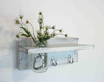 WOOD Wall Shelf  Hooks Faded Linen Wedding White  Color Shabby  Chic Beach Cottage