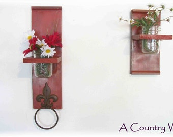Two handmade unique colorful Kitchen or Bathroom Wall Shelves  Towel Ring  fleur de lis Shabby Chic Shabby Chic
