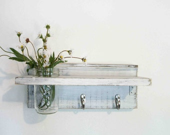 Wood French Country Wall Shelf  Hooks Faded Linen Shabby Chic Wedding White Color Beach Cottage