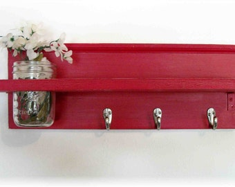 Candy Cherry Red  Mod Colorful Unique  Shelf Silver Hooks Mason Jar