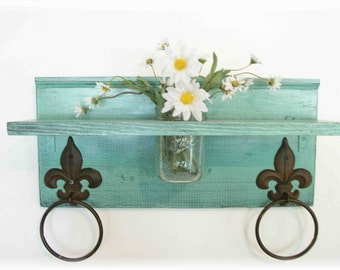 Mint Green Bathroom or  Kitchen Fleur de Lis Towel Rings Shelf with Mason Jar