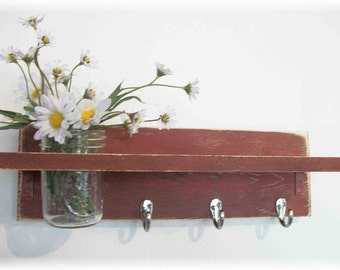 Primitive Country BARN RED  Fall Wood Coat Hooks Cottage Wall Shelf