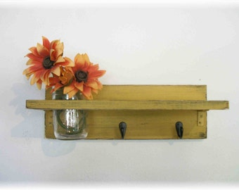Primitive Cornflower Pumpkin Mustard Yellow Color Shelf  Hooks Rustic Country