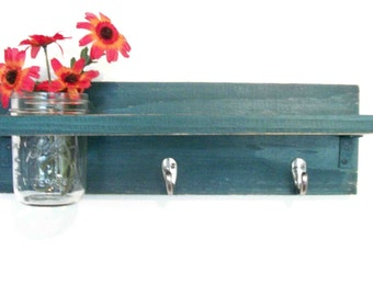 Wood Primitive Country Dark Emerald Blue Green 2 Coat Hooks Cottage Wall Shelf