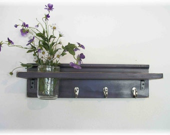 Primitive Country Deep Grape Purple  Coat  Cottage Wall Shelf