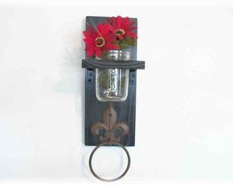 Wood Kitchen or Bathroom Black Wall Shelf  with Towel Ring  fleu de lis Industrial Urban
