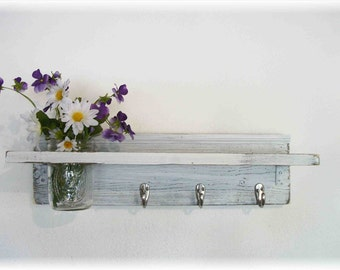 Wood French Country Wall Shelf  Hooks Faded Linen Wedding White  Color Shabby  Chic Beach Cottage