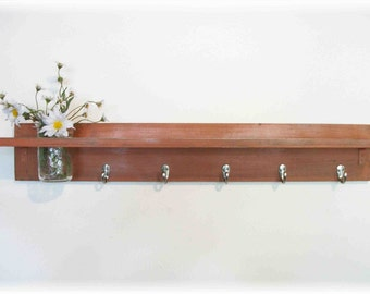 Wood Wall Shelf  Hooks Rustic Burnt Orange Color Shabby Chic Cottage 5 Hooks