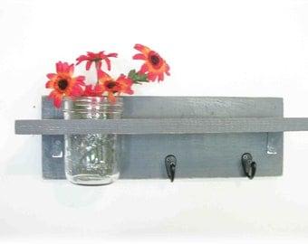 Industrial  Dove Gray Color Shelf  Black Hooks Mason Jar