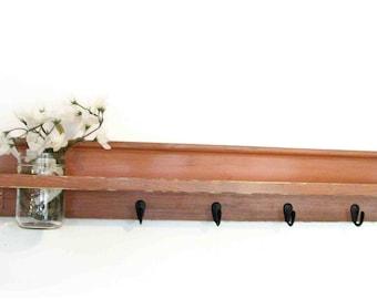 Wood Wall Shelf  Hooks Rustic Burnt Orange Color Cottage 4 Black  Hooks Mason Jar