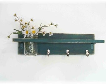 Primitive Country Deep Teal Green Blue  WOOD 3 Coat Hooks Cottage Shabby Chic Wall Shelf