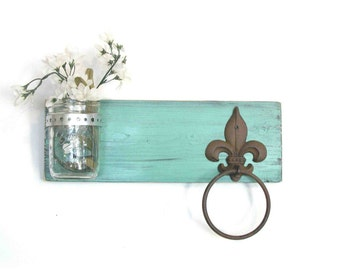 Wood Kitchen or Bathroom Wall Shelf  Mason Jar Towel Ring  fleur de lis Shabby Cottage  Chic