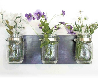 Flowers, Flowers & Flowers. Maison Jars, Deep Grape Purple Shabby Chic Cottage Rustic Shelf