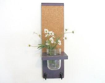 Wood Kitchen Hall  Shelf Cork Bulletin Memo Board Center Hooks Robins Grape Purple Color