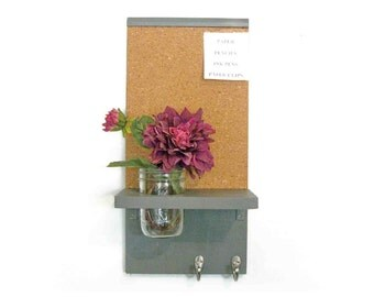 Wood Cork Board Message  Center Hooks Dark Dove Gray Color Mason Jar