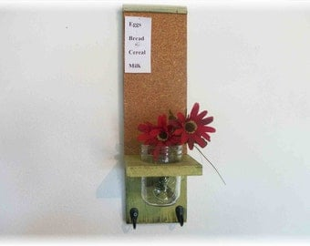 Wood Kitchen Hall  Shelf Cork Bulletin Board Center Hooks Retro Olive Lime Green Color