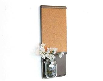 Wood  Shelf Cork Board Mason Jar Message  Center Chocolate Bown Color