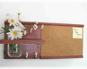 Wood Wall Shelf Cork Bulletin Memo Board Message  Center Hooks Mason Jar Country Barn Red Color