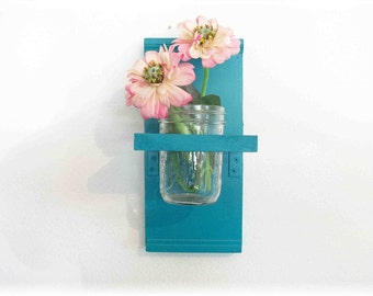 Flowers Wood Wall Turquoise  Color Cottage Mason Jar Shelf
