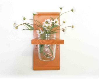 Flowers Primitive Country Summer Bold Orange  Wood  Cottage Wall Shelf
