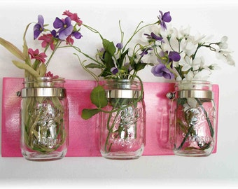 Flowers Flowers,  & Flowers. Mason Jars, High Gloss Hot Flower Power Pink  Cottage Rustic Shelf