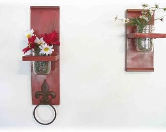 Two handmade unique colorful Kitchen or Bathroom Wall Shelves  Towel Ring  fleur de lis