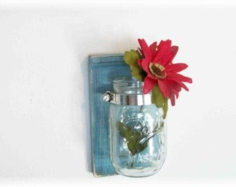 Flowers Wood Wall Country Shelf Faded Robin Eggs Blue  Color Mason Jar