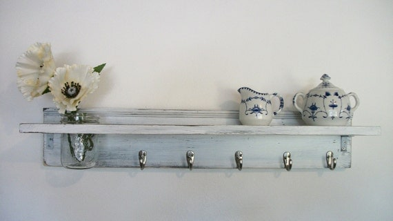 Wood French Country Wall Shelf  Hooks Faded Linen Wedding White  35 inch. Color Shabby Chic FALL 5 Hooks