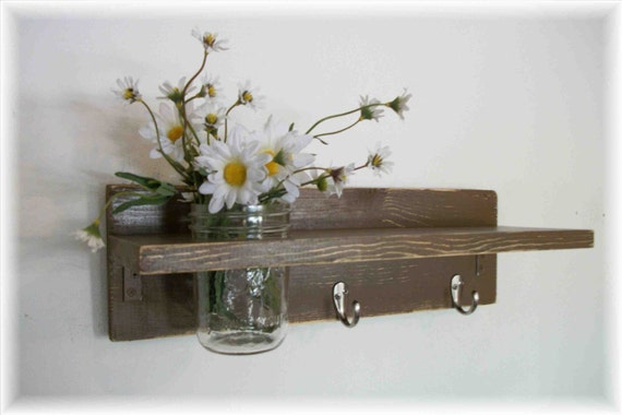 Primitive Country Chocolate Brown  FALL WOOD Coat Hooks Cottage Wall Shelf