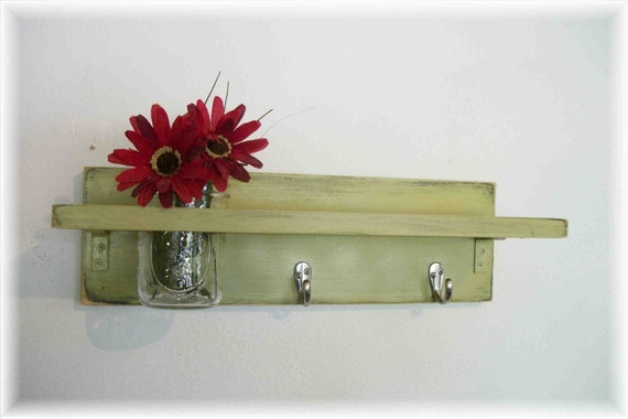 Primitive Country Olive Lime Green  Retro WOOD Coat Hooks Shabby Chic Cottage Wall Shelf