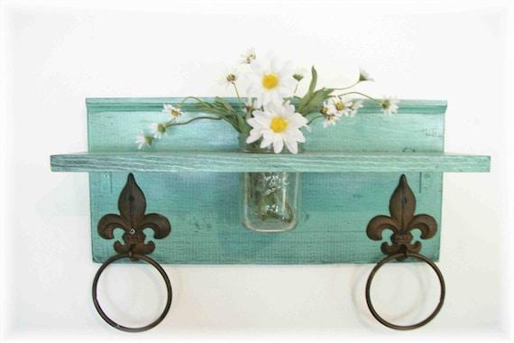 Mint Green Bathroom or  Kitchen Fleur de Lis Towel Rings Shelf with Mason Jar