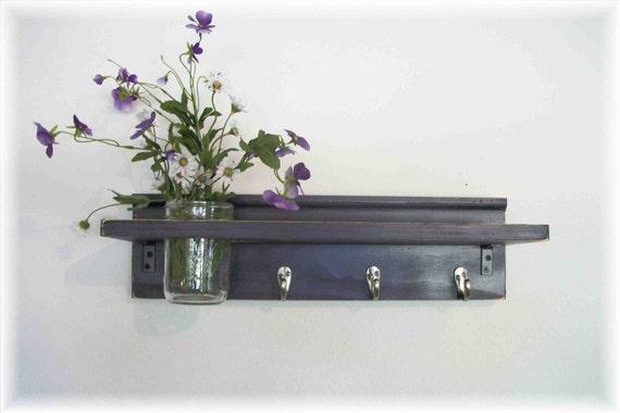 Primitive Country Deep  Grape Purple Wood Shabby Chic Coat Hooks Cottage Wall Shelf