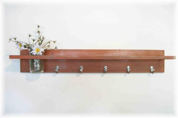 Wood Wall Shelf  Hooks Rustic Burnt Orange Color Cottage 5 Hooks